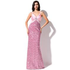Fashion Sheath/Column Sequined Sweep Train Sleeveless Prom Dresses (018044969)