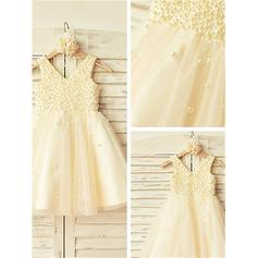 V-neck A-Line/Princess Flower Girl Dresses Tulle Beading Sleeveless Knee-length