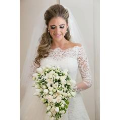 Sheath/Column Tulle Long Sleeves Off-The-Shoulder Sweep Train Wedding Dresses