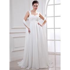 Cauda de sereia Sem Mangas Império - Tecido de seda Vestidos de noiva (002213227)