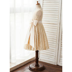 Forme Princesse Longueur genou Robes à Fleurs pour Filles - Satiné/Dentelle Sans manches Col rond avec À ruban(s) (010125841)