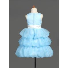 Hasta la rodilla Escote redondo Organdí/Satén Vestidos para niña de arras con Fajas/Flores (010007781)
