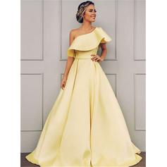 A-Line/Princess One-Shoulder Floor-Length Prom Dresses With Ruffle Cascading Ruffles