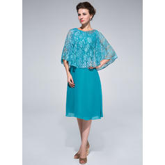 Sheath/Column Scoop Neck Chiffon Lace 1/2 Sleeves Knee-Length Beading Mother of the Bride Dresses