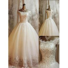 Newest Sweep Train Ball-Gown Wedding Dresses Off-The-Shoulder Tulle Sleeveless