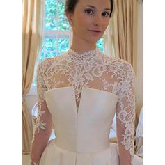 Ball-Gown Taffeta Long Sleeves High Neck Chapel Train Wedding Dresses