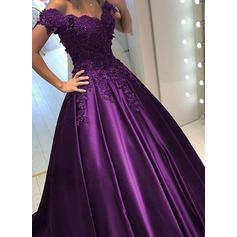 Ball-Gown Off-the-Shoulder Satin Sleeveless Sweep Train Beading Sequins Evening Dresses