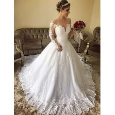 Off-The-Shoulder Ball-Gown Wedding Dresses Tulle Lace Long Sleeves Sweep Train
