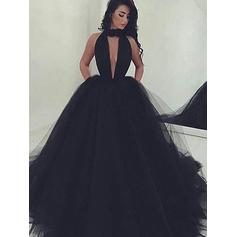 A-Line/Princess Scoop Neck Tulle Sleeveless Floor-Length Evening Dresses