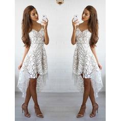 2019 New Lace Homecoming Dresses A-Line/Princess Asymmetrical V-neck Sleeveless (022212258)