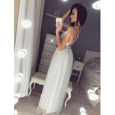 Sin mangas Escote en V - Gasa Vestidos de baile de promoción (018218340)
