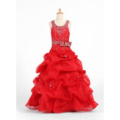 Simple Floor-length Ball Gown Flower Girl Dresses Scoop Neck Organza/Charmeuse Sleeveless