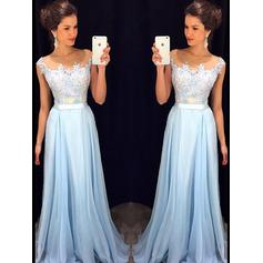 Chiffon Sleeveless A-Line/Princess Prom Dresses Scoop Neck Floor-Length