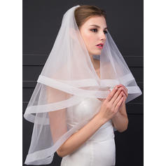 Fingertip Bridal Veils One-tier Angel cut/Waterfall With Ribbon Edge 70.87 in (180cm) Wedding Veils