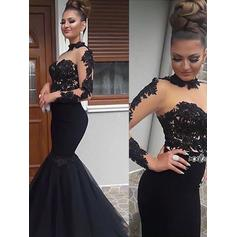 Tulle Long Sleeves Trumpet/Mermaid Prom Dresses High Neck Appliques Lace Floor-Length