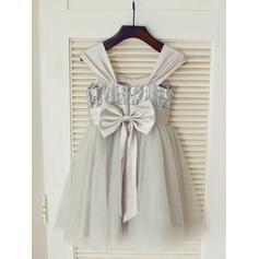 Correas de hombro Corte A/Princesa Vestidos para niña de arras Tul/Con lentejuelas Flores Sin mangas Hasta la rodilla (010211952)