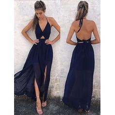 A-Line/Princess Prom Dresses Flattering Floor-Length Halter V-neck Sleeveless