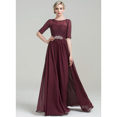 A-Line/Princess Scoop Neck Floor-Length Chiffon Mother of the Bride Dress With Beading Sequins (008085278)