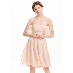 Renda Mangas Vestidos princesa/ Formato A Off-the-ombro Vestidos de boas vindas (022214138)