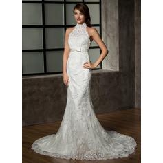 Bow(s) Sleeveless Halter Tulle Lace Trumpet/Mermaid Wedding Dresses (002210410)