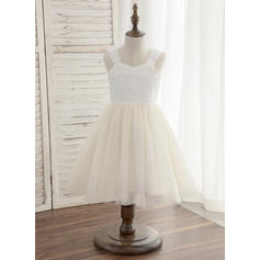 A-Line/Princess Knee-length Flower Girl Dress - Tulle/Lace Sleeveless Straps (010148824)