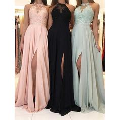 A-Line/Princess Lace Beading Halter With Chiffon Evening Dresses