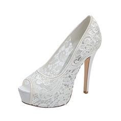 Frauen Peep-Toe Plateauschuh Absatzschuhe Sandalen Stöckel Absatz Lace Brautschuhe