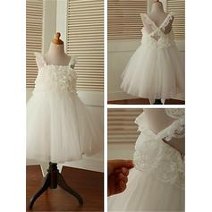 Square Neckline A-Line/Princess Flower Girl Dresses Tulle Ruffles Sleeveless Tea-length