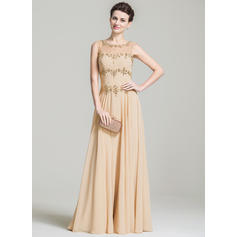 A-Line/Princess Chiffon Sleeveless Scoop Neck Floor-Length Zipper Up Mother of the Bride Dresses