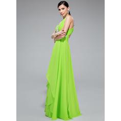 Glamuroso Corte A/Princesa Gasa Hasta el suelo Sin mangas Vestidos de baile de promoción (018046245)