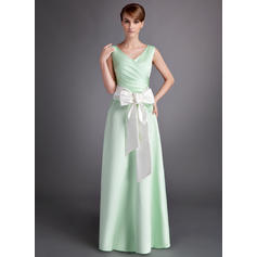 Satin Sleeveless A-Line/Princess Bridesmaid Dresses V-neck Ruffle Sash Bow(s) Floor-Length