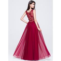 Sin mangas Corte A/Princesa Tul Escote redondo Vestidos de baile de promoción (018070359)