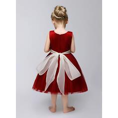 Forme Princesse Longueur mollet Robes à Fleurs pour Filles - Tulle Sans manches Bijou avec Ceintures/Fleur(s) (010092133)