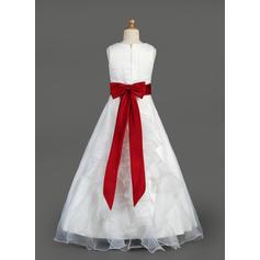 Le plus récent Col rond Forme Princesse Organza/Satiné Robes de demoiselle d'honneur - fillette (010014643)