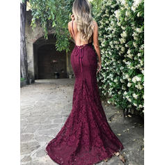Lace Sleeveless Trumpet/Mermaid Prom Dresses V-neck Court Train