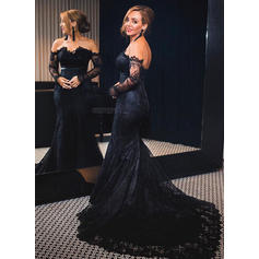 Beautiful Long Sleeves Trumpet/Mermaid Lace Evening Dresses (017210085)