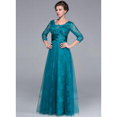 Vestidos princesa/ Formato A Decote redondo Longos Tule Renda Vestido para a mãe da noiva com Pregueado Beading lantejoulas (008025713)