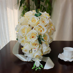 "Bridal Bouquets Round Wedding Satin/Artificial Silk 13.78""(Approx.35cm) Wedding Flowers"