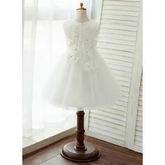 Vestidos princesa/ Formato A Coquetel Vestidos de Menina das Flores - Tule/Renda Sem magas Decote redondo com Apliques de Renda (010122561)