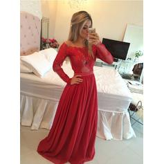 Chiffon Long Sleeves A-Line/Princess Prom Dresses Off-the-Shoulder Sweep Train