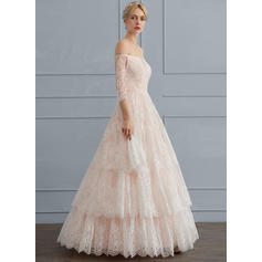 Ball-Gown Off-the-Shoulder Floor-Length Lace Wedding Dress (002119792)