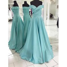 A-Line/Princess Sweep Train Off-the-Shoulder Satin Prom Dresses (018148472)