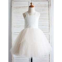 A-Line/Princess Straps Knee-length With Bow(s) Tulle/Cotton Flower Girl Dresses (010211629)