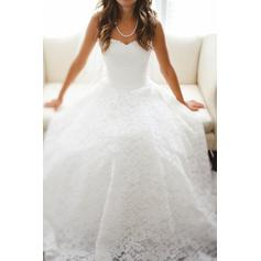 A-Line/Princess Lace Sleeveless Sweetheart Floor-Length Wedding Dresses