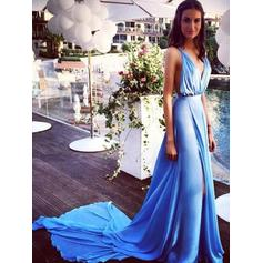 A-Line/Princess V-neck Chiffon Sleeveless Court Train Split Front Evening Dresses