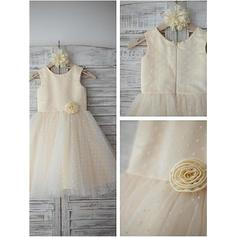 A-Line/Princess Scoop Neck Tea-length With Flower(s) Satin/Tulle Flower Girl Dresses (010212029)