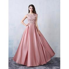Satin Sleeveless A-Line/Princess Prom Dresses Scoop Neck Beading Bow(s) Floor-Length