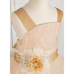 Robe Marquise Longueur ras du sol Robes à Fleurs pour Filles - Tulle/Dentelle Sans manches Bretelles avec Fleur(s) (010091704)