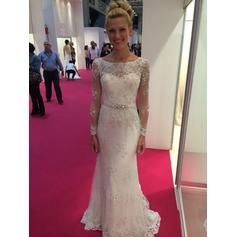 Fashion Floor-Length Sweep Train Sheath/Column Wedding Dresses Scoop Tulle Long Sleeves