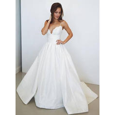 Lace Appliques Ball-Gown With Stunning Taffeta Wedding Dresses